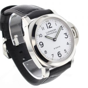 The comfortable copy Panerai Luminor PAM00561 watches have black leather straps.