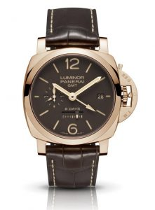 The luxury replica Panerai Luminor 1950 PAM00576 watches are made from red gold.