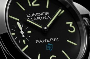 The 44 mm copy Panerai Luminor Marina Logo PAM00777 watches have black dials with luminant details.