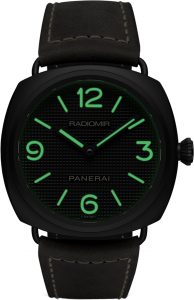 The 45 mm fake Panerai Radiomir PAM00643 watches have black dials with luminant coatings.