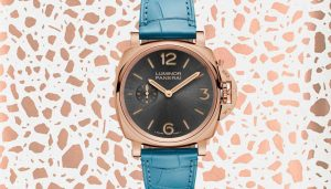 The luxury fake Panerai Luminor Due PAM00677 watches are made from red gold.