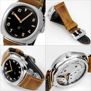 The durable fake Panerai Radiomir California 3 Days Acciaio PAM00424 watches are made from polished steel and have brown calf leather straps.