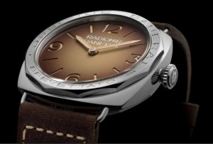 The stainless steel copy Panerai watches have brown leather straps.