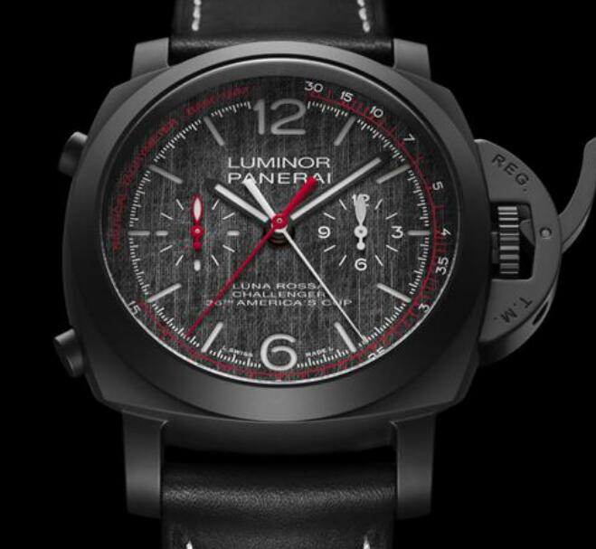 The color-matching of this Panerai is inspired by the Luna Rossa.